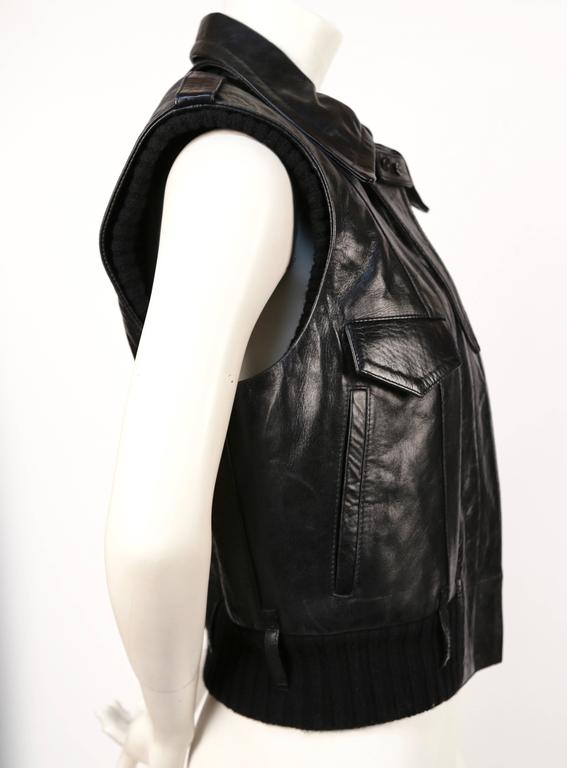 Black 2002 BALENCIAGA by Nicolas Ghesquiere black leather runway vest with wool trim For Sale
