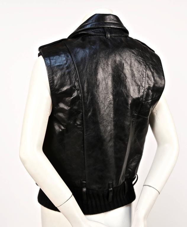 2002 BALENCIAGA by Nicolas Ghesquiere black leather runway vest with wool trim In Good Condition For Sale In San Fransisco, CA