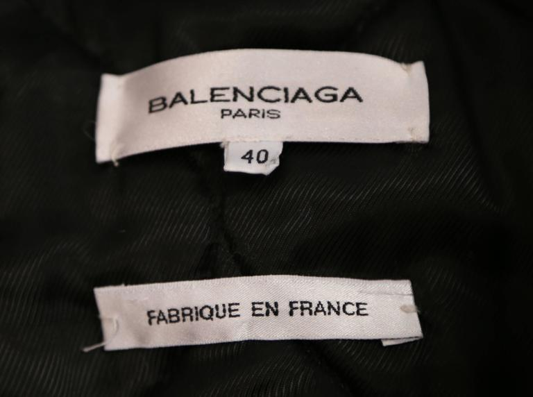 Women's or Men's 2002 BALENCIAGA by Nicolas Ghesquiere black leather runway vest with wool trim For Sale