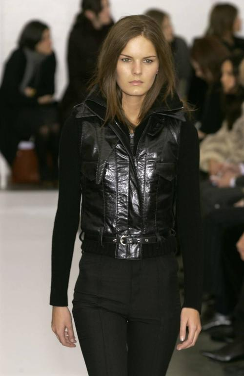2002 BALENCIAGA by Nicolas Ghesquiere black leather runway vest with wool trim 9