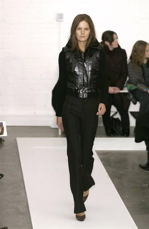 2002 BALENCIAGA by Nicolas Ghesquiere black leather runway vest with wool trim 8
