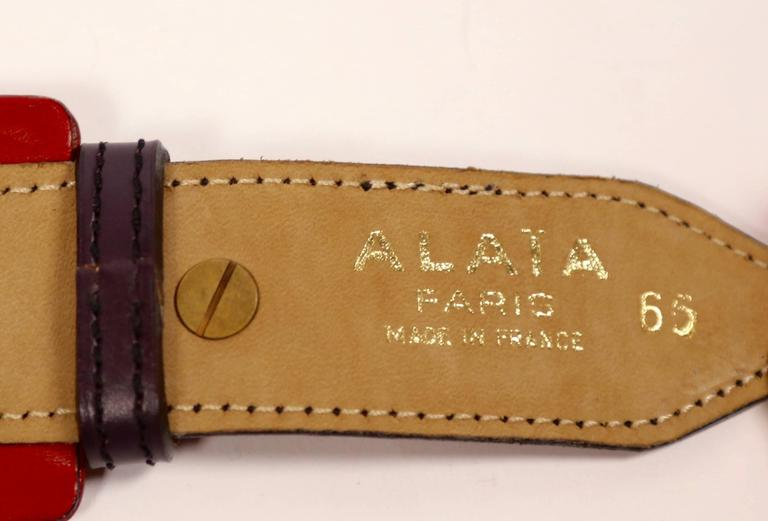 1990's AZZEDINE ALAIA red and purple leather belt with brass pyramid studs 4