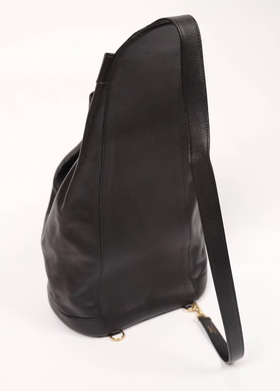 1991 HERMES black Gulliver leather 'sac de voyage marin' travel bag In Excellent Condition For Sale In San Fransisco, CA