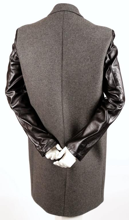 Black CELINE by Phoebe Philo charcoal grey crombie coat black leather sleeves For Sale