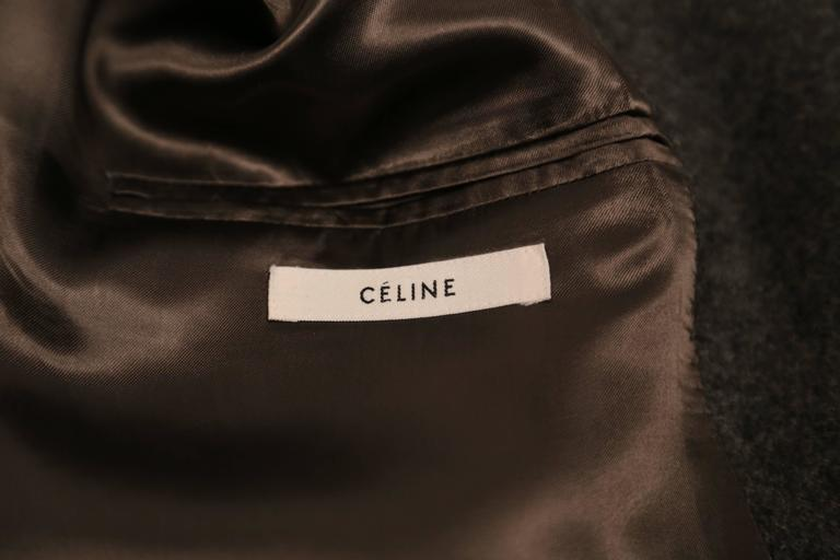 Women's or Men's CELINE by Phoebe Philo charcoal grey crombie coat black leather sleeves For Sale