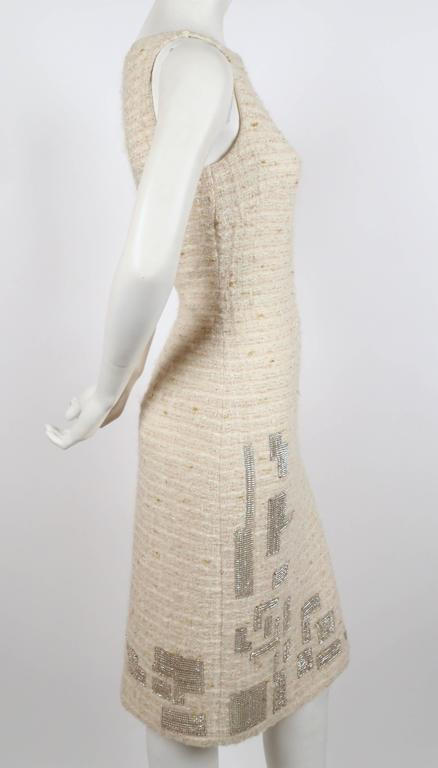 Beige GENNY cream boucle sheath dress with chainmail detail For Sale