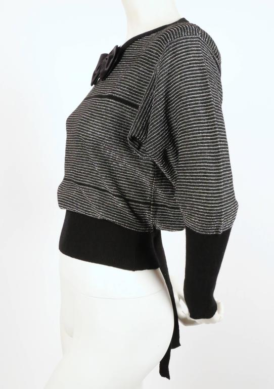 Black 1970's SONIA RYKIEL black and silver lurex striped sweater with satin bowtie For Sale