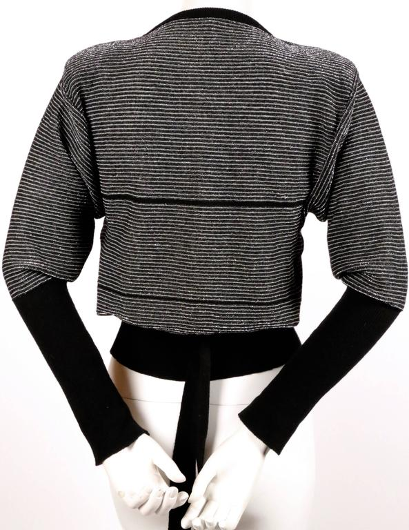 1970's SONIA RYKIEL black and silver lurex striped sweater with satin bowtie In Excellent Condition For Sale In San Francisco, CA