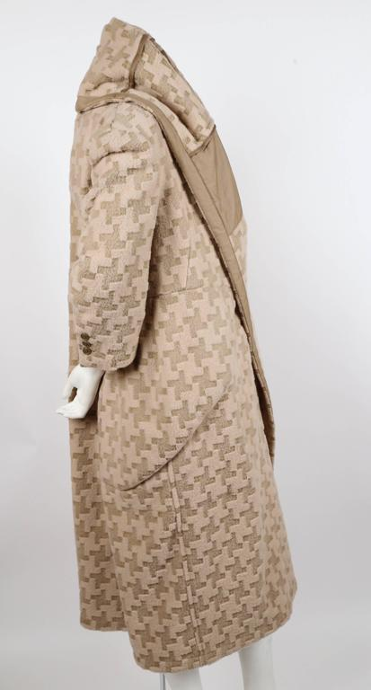 Brown Comme Des Garcons houndstooth wool draped runway coat, 2009  For Sale