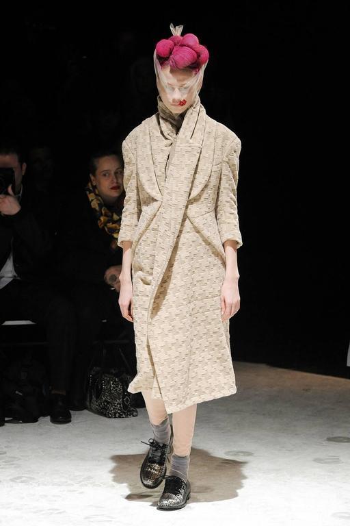 2009 COMME DES GARCONS houndstooth wool draped runway coat - unworn For Sale 2