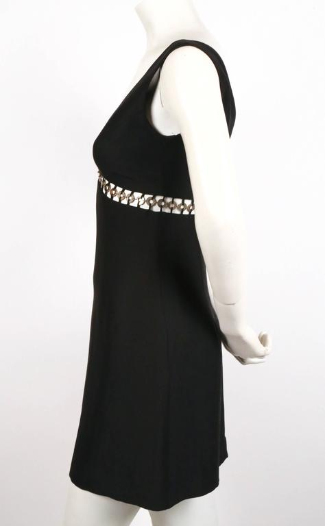 Black 1990's SOPHIE SITBON black mini dress with cut out and silver rings For Sale