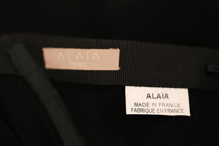 AZZEDINE ALAIA jet black ruched dress with open back In Excellent Condition For Sale In San Fransisco, CA
