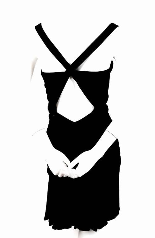 Black AZZEDINE ALAIA jet black ruched dress with open back For Sale