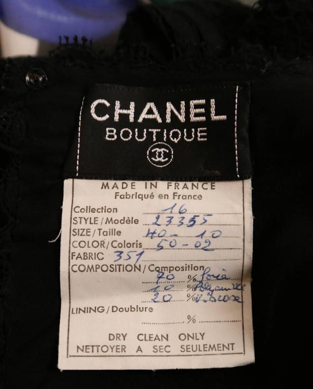 1988 CHANEL Camellia flower silk runway dress with black lace bodice 5