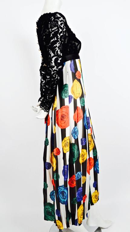 1988 CHANEL Camellia flower silk runway dress with black lace bodice 2