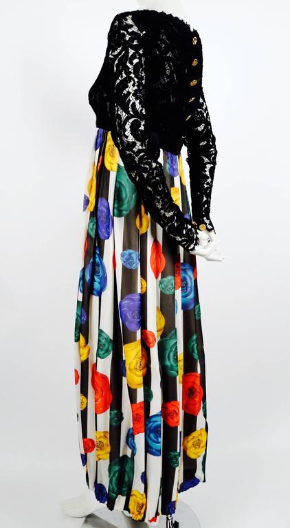 1988 CHANEL Camellia flower silk runway dress with black lace bodice 3