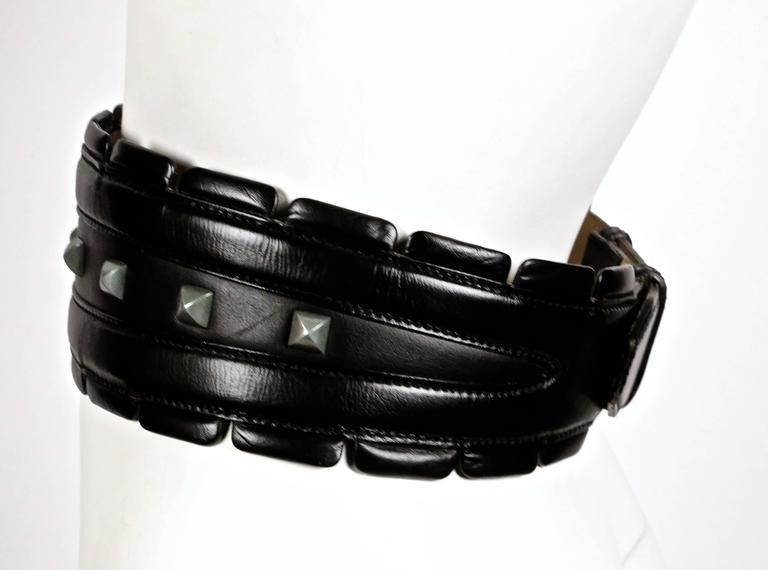 1990's AZZEDINE ALAIA black leather belt with silver pyramid studs 2