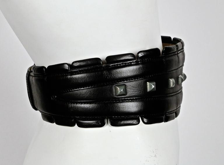 1990's AZZEDINE ALAIA black leather belt with silver pyramid studs 3