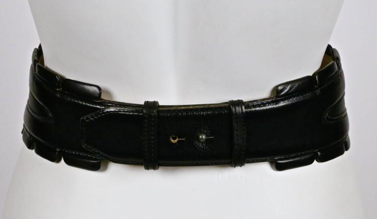 1990's AZZEDINE ALAIA black leather belt with silver pyramid studs 4