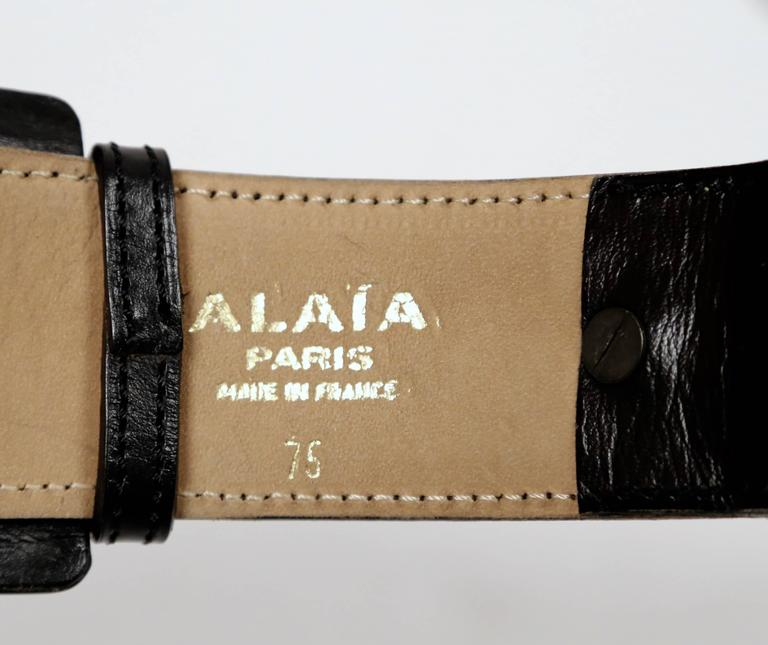 1990's AZZEDINE ALAIA black leather belt with silver pyramid studs 5