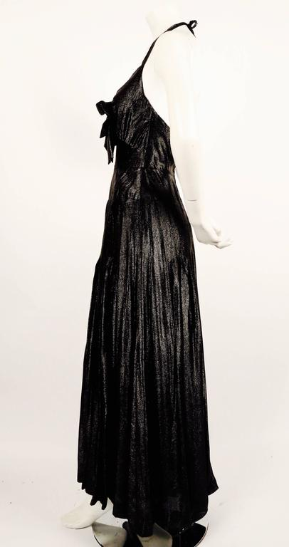 1983 CHANEL metallic black silk maxi gown with bow and keyhole 3