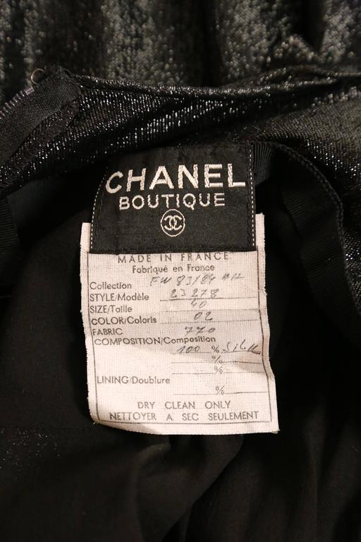 1983 CHANEL metallic black silk maxi gown with bow and keyhole 5
