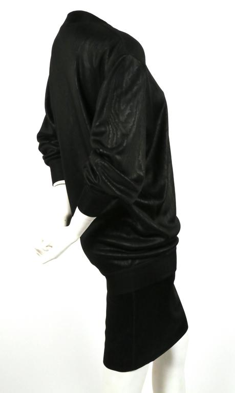 Black 1980's AZZEDINE ALAIA black tunic and skirt For Sale