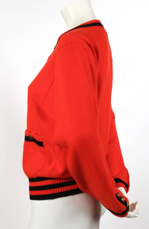 1980's CHANEL red and black cashmere cardigan sweater 2