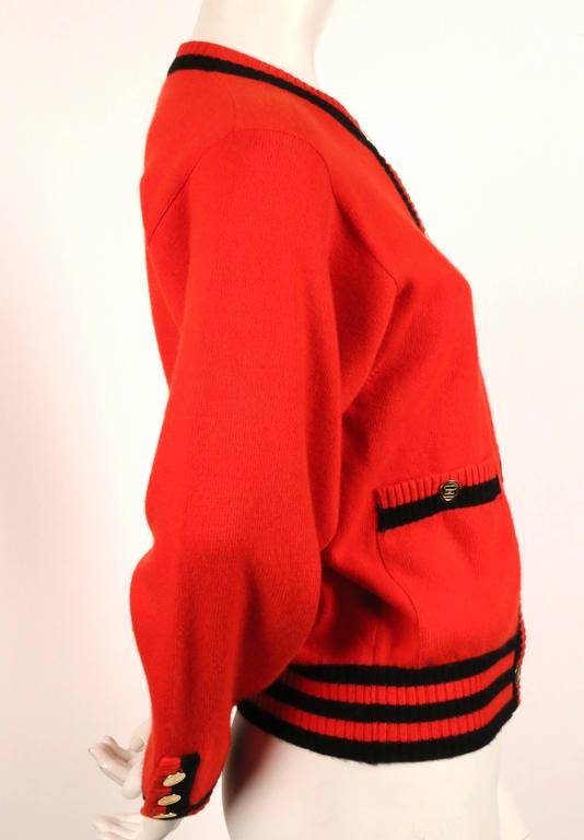 1980's CHANEL red and black cashmere cardigan sweater 3