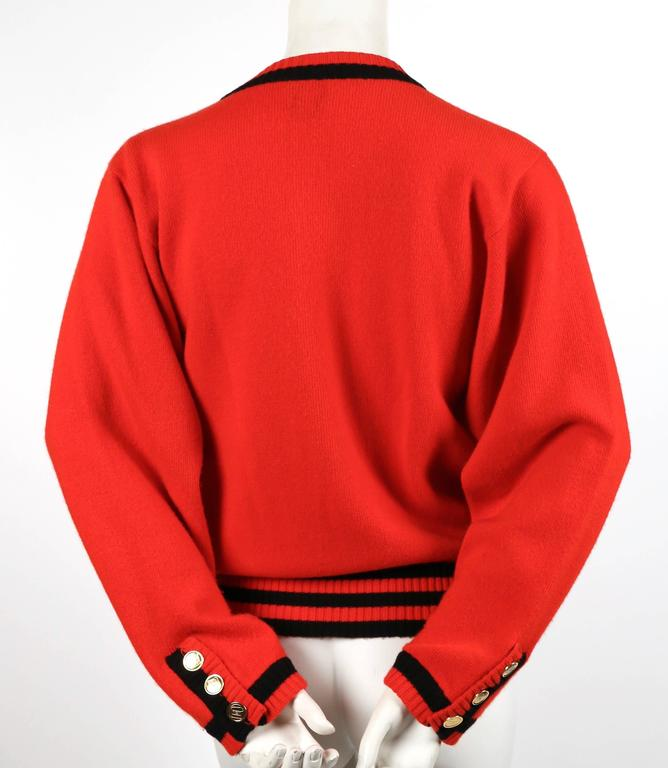 1980's CHANEL red and black cashmere cardigan sweater 4