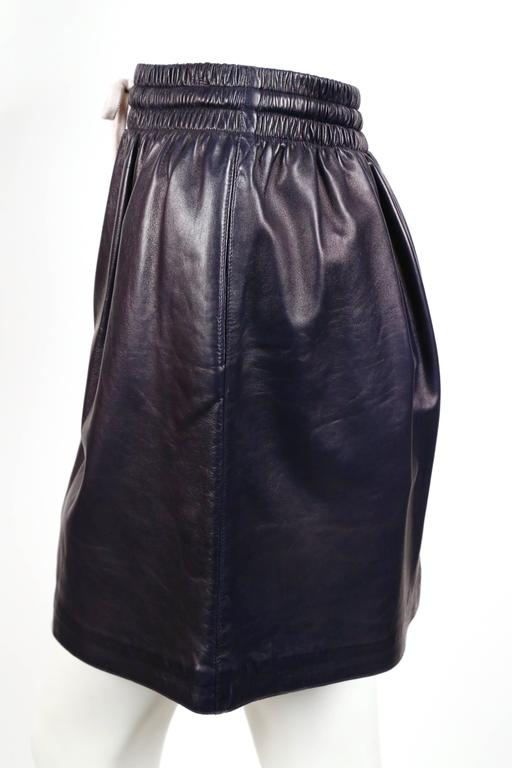 by phoebe philo navy leather skirt unworn at 1stdibs
