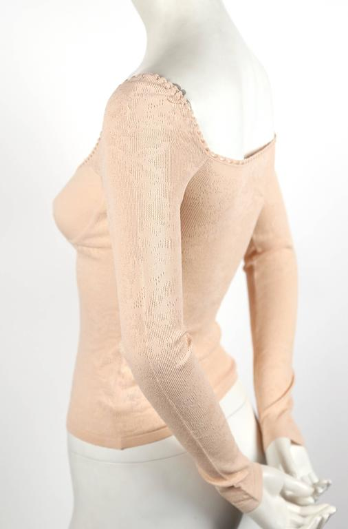 2003 ALEXANDER MCQUEEN peach pointelle knit sweater with bustier detail 2