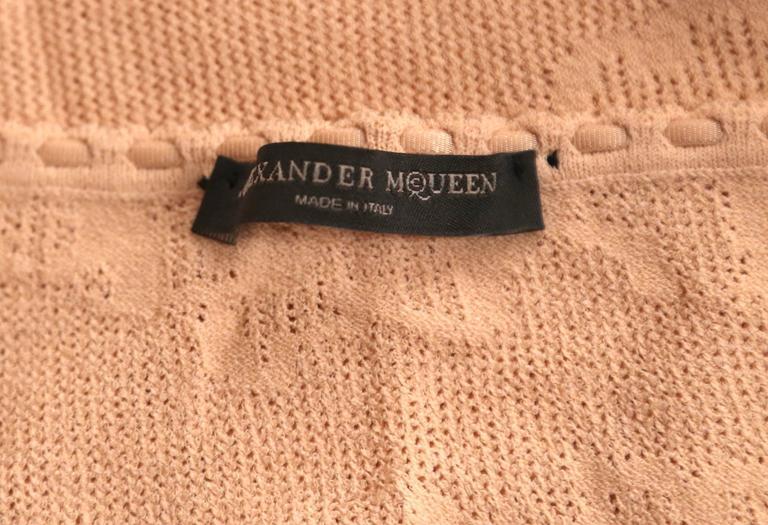 2003 ALEXANDER MCQUEEN peach pointelle knit sweater with bustier detail 4