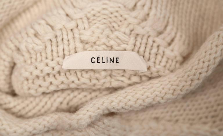 Women's or Men's rare CELINE by PHOEBE PHILO wool cable knit sweater with asymmetrical hem For Sale