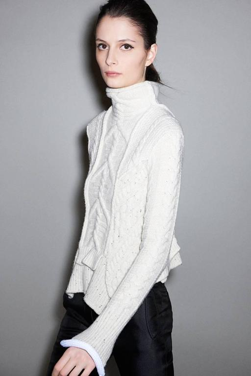 rare CELINE by PHOEBE PHILO wool cable knit sweater with asymmetrical hem For Sale 1