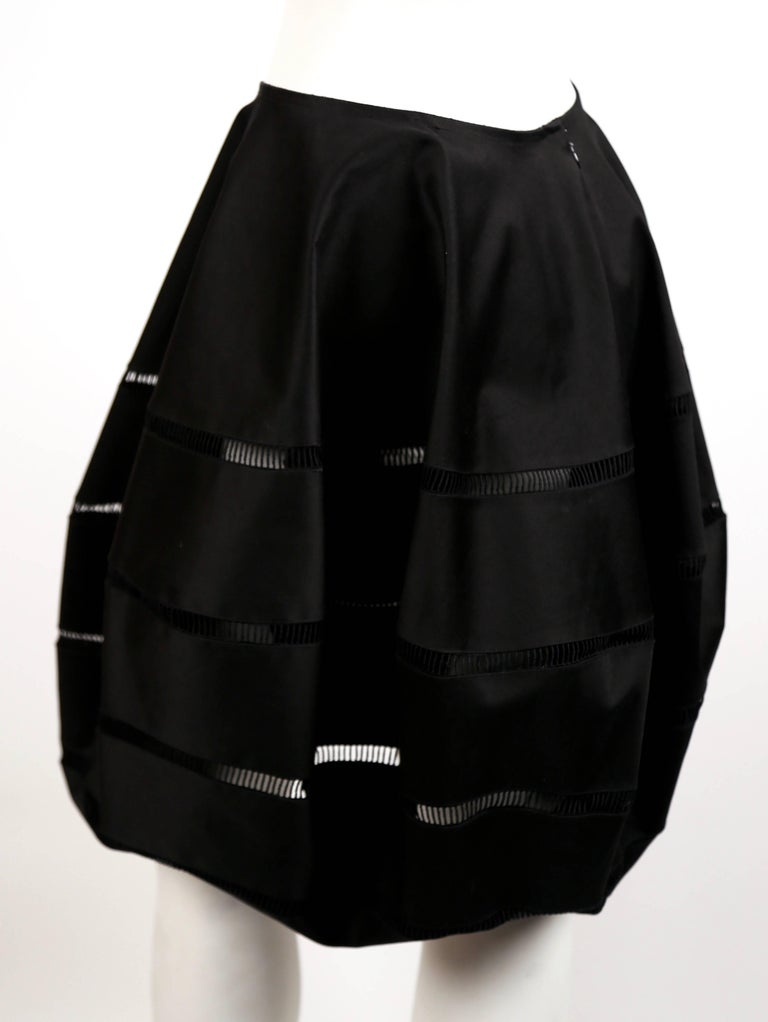 Black Azzedine Alaia polished cotton black bubble skirt with embroidered cut outs