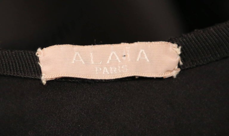 Azzedine Alaia polished cotton black bubble skirt with embroidered cut outs In Excellent Condition In San Fransisco, CA