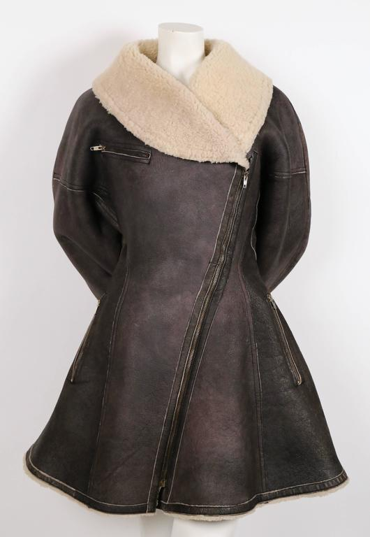 1987 AZZEDINE ALAIA flared brown shearling coat with shawl collar 3