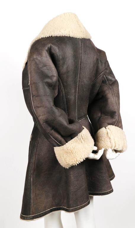 1987 AZZEDINE ALAIA flared brown shearling coat with shawl collar 6
