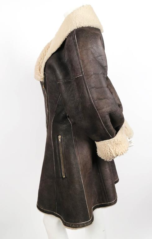 1987 AZZEDINE ALAIA flared brown shearling coat with shawl collar 5