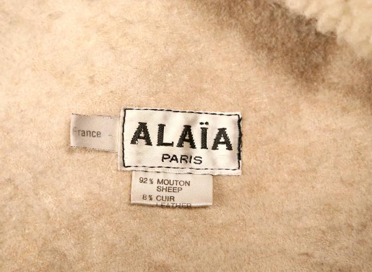 1987 AZZEDINE ALAIA flared brown shearling coat with shawl collar 7