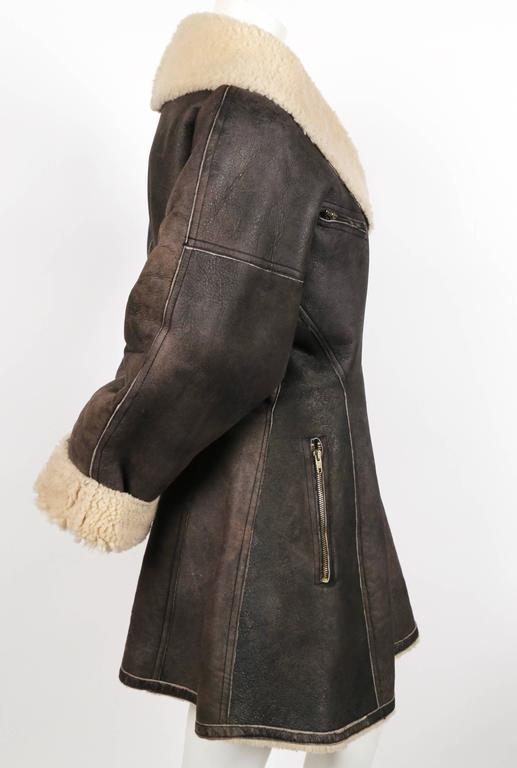 1987 AZZEDINE ALAIA flared brown shearling coat with shawl collar 4
