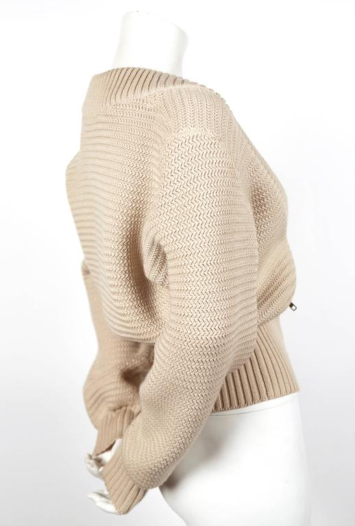 Beige 1985 AZZEDINE ALAIA heavy knit cardigan sweater jacket with zippers For Sale