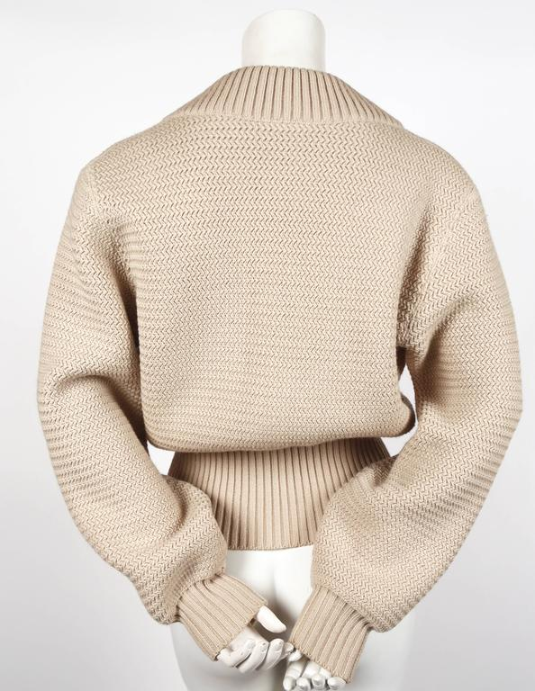 1985 AZZEDINE ALAIA heavy knit cardigan sweater jacket with zippers In Excellent Condition For Sale In Oakland, CA