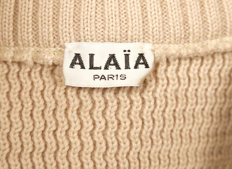Women's or Men's 1985 AZZEDINE ALAIA heavy knit cardigan sweater jacket with zippers For Sale