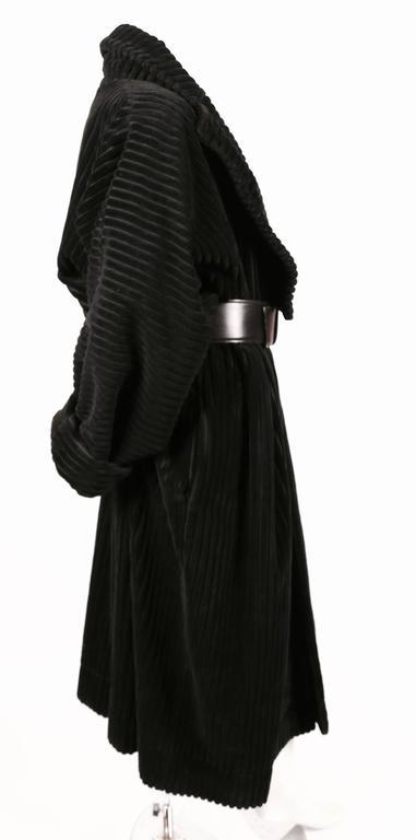 Black 1984 AZZZEDINE ALAIA black elephant cord coat For Sale