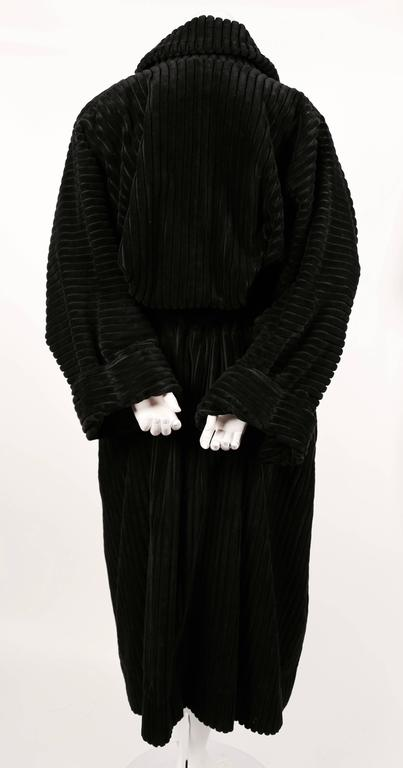 1984 AZZZEDINE ALAIA black elephant cord coat In Excellent Condition For Sale In San Francisco, CA