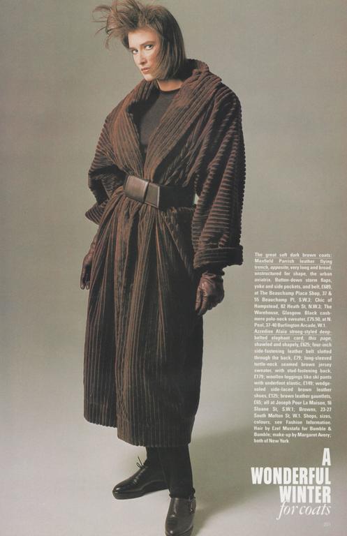Women's or Men's 1984 AZZZEDINE ALAIA black elephant cord coat For Sale