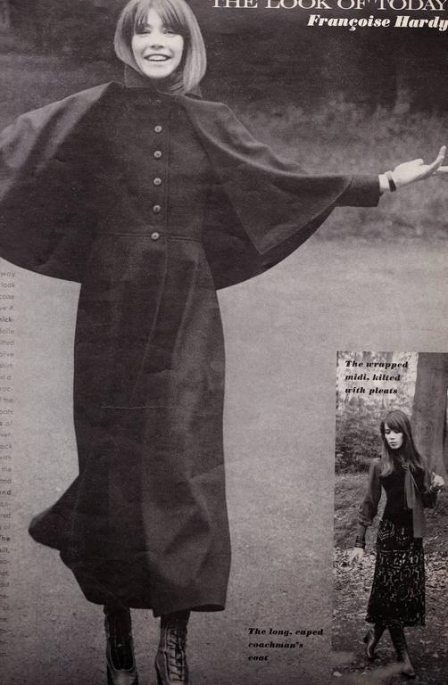 Women's very rare YVES SAINT LAURENT wool cape coat - 1970 For Sale