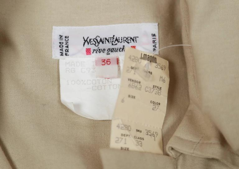 unworn 1980's YVES SAINT LAURENT tan safari tunic dress 5
